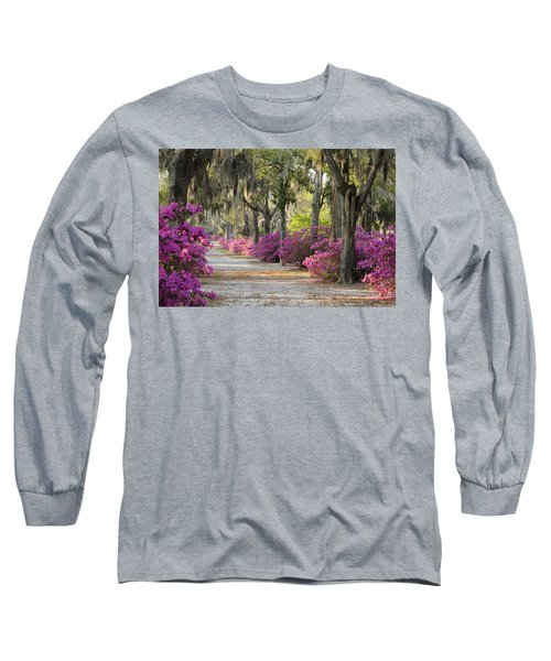Unpaved Road With Azaleas And Oaks Long Sleeve T-Shirt