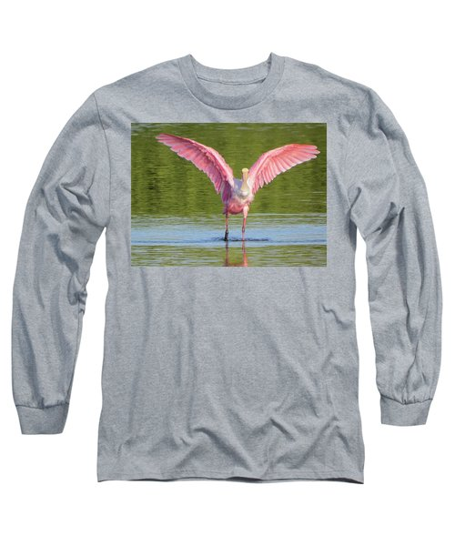 Up, Up And Away Sanibel Spoonbill Long Sleeve T-Shirt by Melinda Saminski
