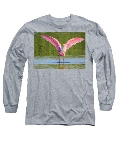 Up, Up And Away Sanibel Spoonbill Long Sleeve T-Shirt by Melinda Saminski