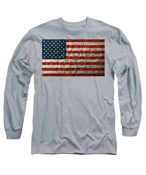 Us Flag And The Gears Design Long Sleeve T-Shirt