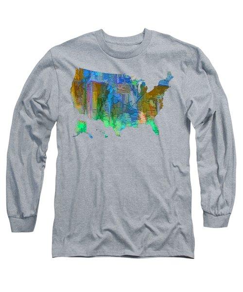 Usa - Colorful Map Long Sleeve T-Shirt