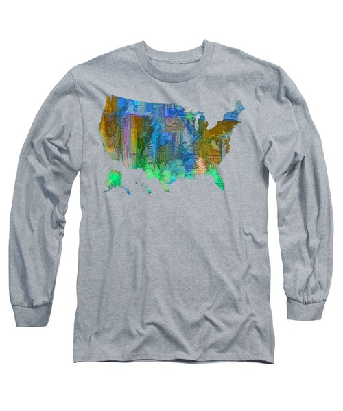Usa - Colorful Map Long Sleeve T-Shirt