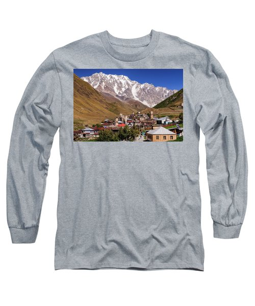 Ushguli And  Shkhara Mount Long Sleeve T-Shirt by Sergey Simanovsky