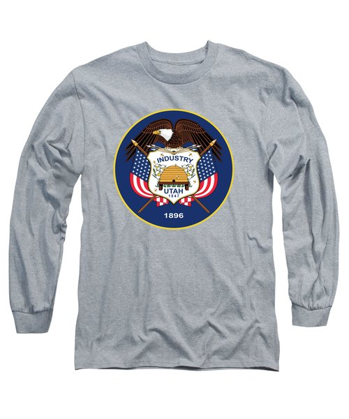 Long Sleeve T-Shirt featuring the digital art Utah State Flag Authentic Version by Bruce Stanfield
