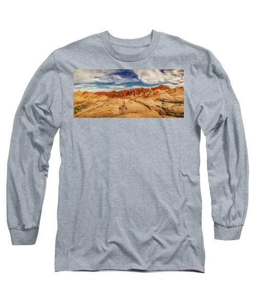 Long Sleeve T-Shirt featuring the photograph Valley Of Fire Panorama by Rikk Flohr