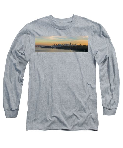 Vancouver Bc Skyline Along Stanley Park At Sunset Long Sleeve T-Shirt