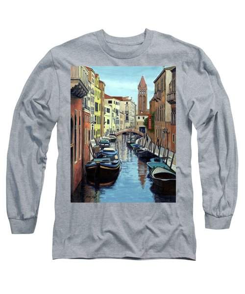 Long Sleeve T-Shirt featuring the painting Venice Canal Reflections by Janet King