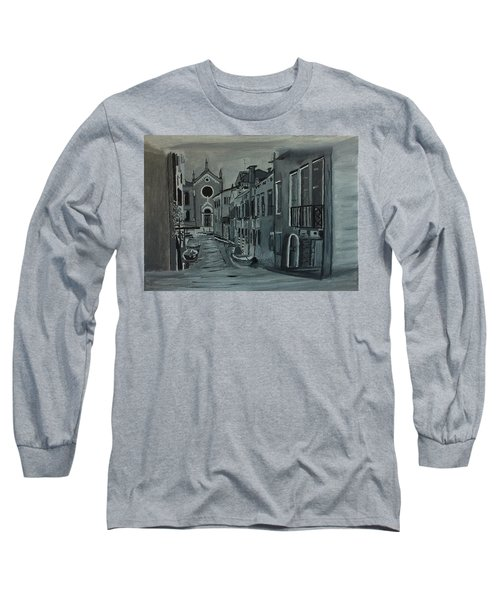 Long Sleeve T-Shirt featuring the painting Venice In Grey And White by Rod Jellison