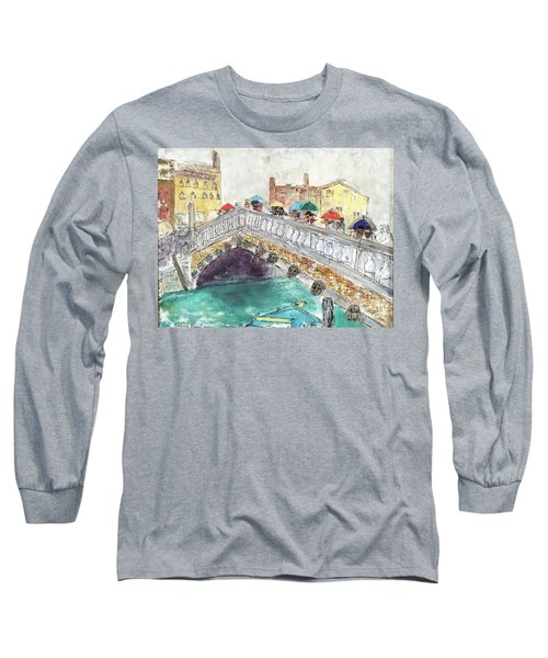 Long Sleeve T-Shirt featuring the painting Venice In The Rain by Barbara Anna Knauf
