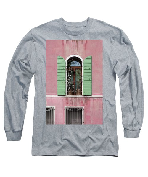 Venice Window In Pink And Green Long Sleeve T-Shirt by Brooke T Ryan
