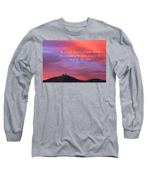 Ventura Ca Two Trees At Sunset With Bible Verse Long Sleeve T-Shirt by John A Rodriguez