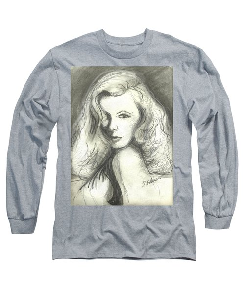 Long Sleeve T-Shirt featuring the mixed media Veronica Lake by Denise Fulmer