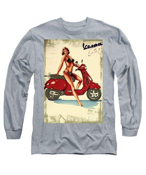 Vespa Girl - Vintage Poster Long Sleeve T-Shirt