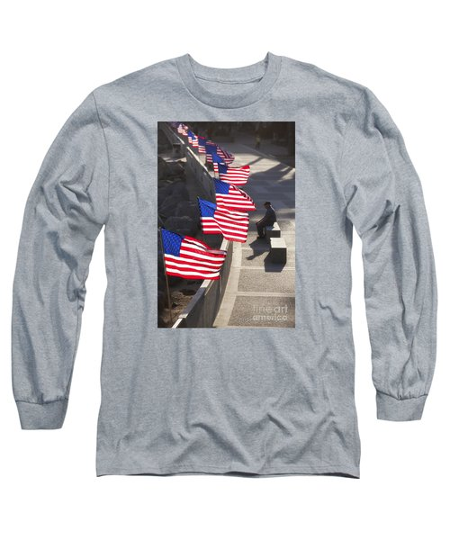 Veteran With United States Flags Long Sleeve T-Shirt by John A Rodriguez