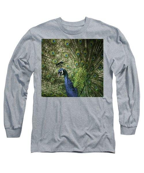 Vibrant Peacock Long Sleeve T-Shirt by Jason Moynihan