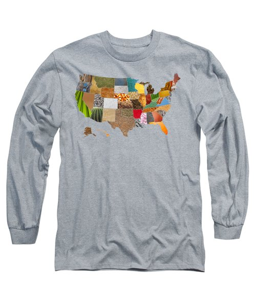 Vibrant Textures Of The United States Long Sleeve T-Shirt by Design Turnpike