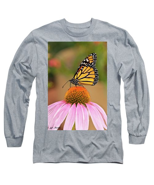Monarch Butterfly On A Purple Coneflower Long Sleeve T-Shirt by Jeff Goulden