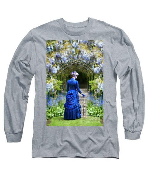Victorian Woman With Wisteria Long Sleeve T-Shirt