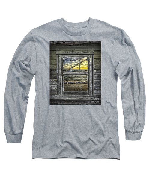 View From Weathered Beach Cottage Long Sleeve T-Shirt by Walt Foegelle