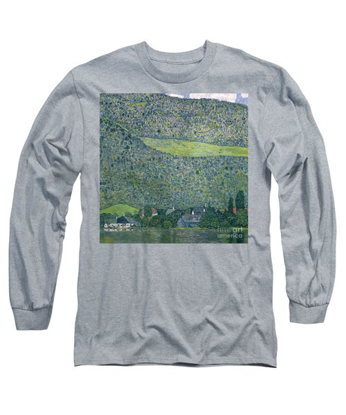 View Of A Chateau Unterach On Lake Attersee Long Sleeve T-Shirt