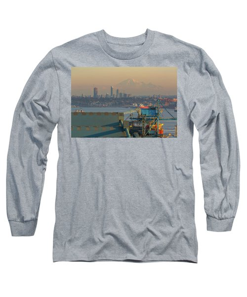 View Of Mount Baker And Vancouver Bc At Sunset Long Sleeve T-Shirt