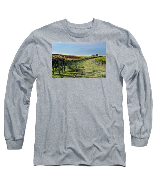 Long Sleeve T-Shirt featuring the photograph Vineyard Shadows Livermore by Haleh Mahbod