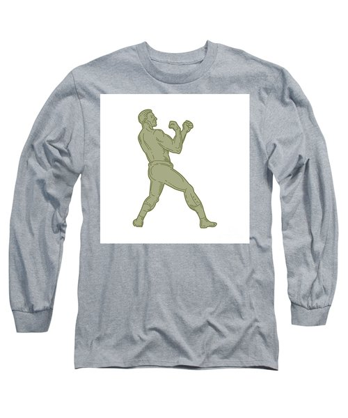 Vintage Boxer Fighting Stance Mono Line Long Sleeve T-Shirt