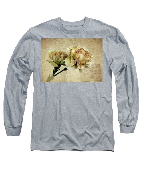 Vintage Carnations Long Sleeve T-Shirt by Judy Vincent