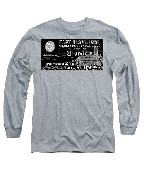 Vintage Cloisters And Fort Tryon Park Poster Long Sleeve T-Shirt by Cole Thompson