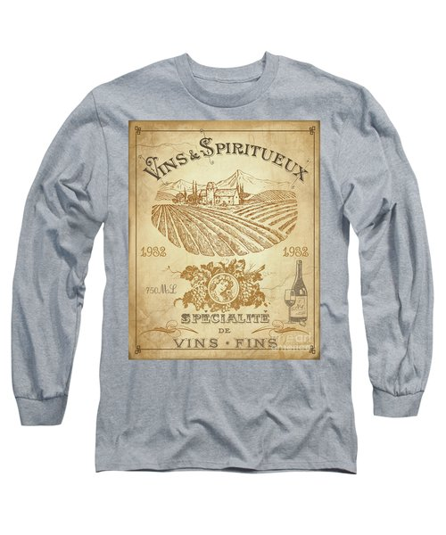 Long Sleeve T-Shirt featuring the digital art Vintage French Wine Label-jp3973 by Jean Plout
