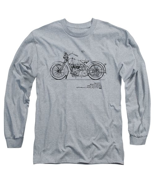 Vintage Harley-davidson Motorcycle 1928 Patent Artwork Long Sleeve T-Shirt by Nikki Smith