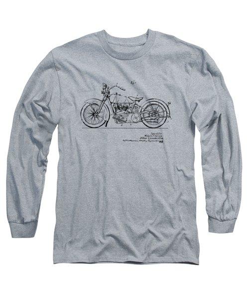 Vintage Harley-davidson Motorcycle 1928 Patent Artwork Long Sleeve T-Shirt