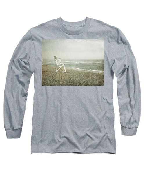 Vintage Inspired Beach With Lifeguard Chair Long Sleeve T-Shirt by Brooke T Ryan