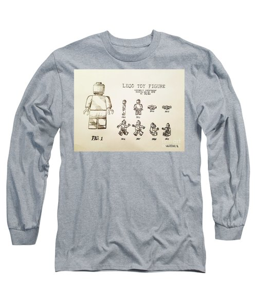 Vintage Lego Toy Figure Patent - Graphite Pencil Sketch Long Sleeve T-Shirt