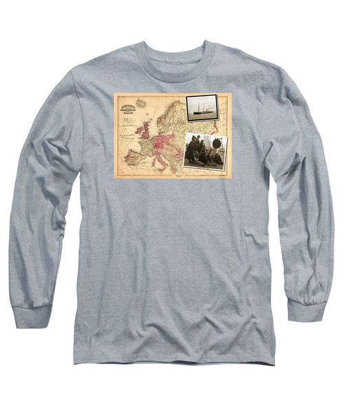 Vintage Map Europe To New York Long Sleeve T-Shirt
