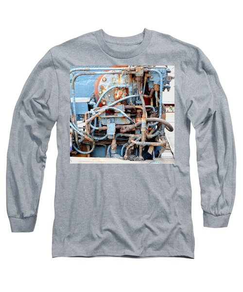 Long Sleeve T-Shirt featuring the photograph Vintage Old Diesel Engine On A Ship by Yali Shi