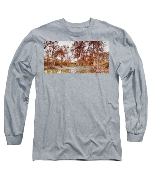 Vintage Panorama Of Guadalupe River At James Kiehl Riverbend Park - Comfort Texas Hill Country Long Sleeve T-Shirt