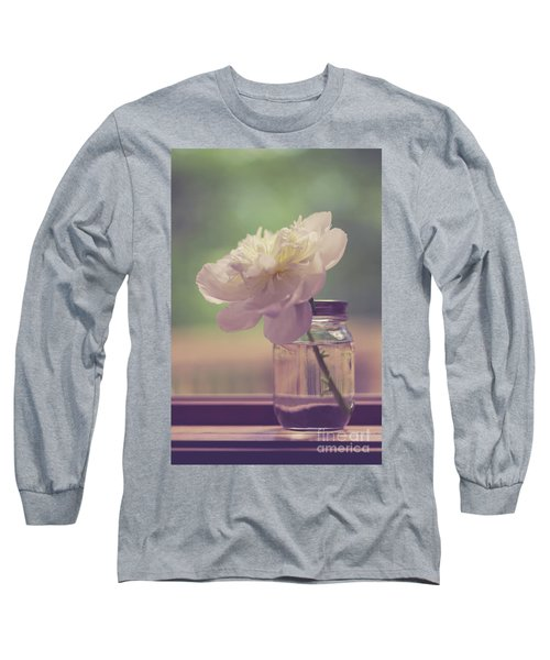 Long Sleeve T-Shirt featuring the photograph Vintage Peony Flower Still Life by Edward Fielding