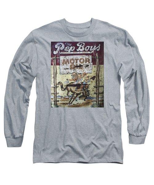 Vintage Pep Boys Sign Long Sleeve T-Shirt by Christina Lihani