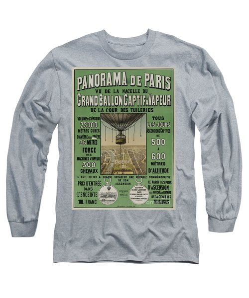 Long Sleeve T-Shirt featuring the photograph Vintage Poster Of Great Balloon View Of Paris 1878 by John Stephens