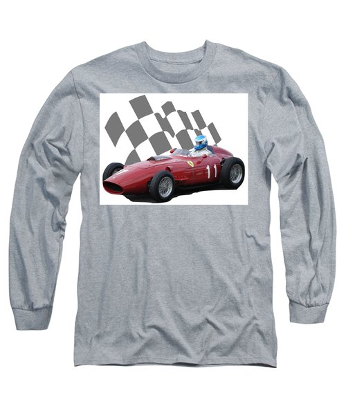 Vintage Racing Car And Flag 2 Long Sleeve T-Shirt by John Colley