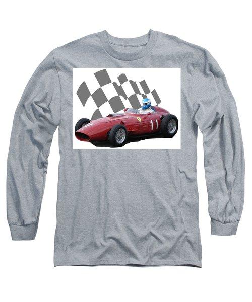 Vintage Racing Car And Flag 2 Long Sleeve T-Shirt