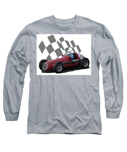 Long Sleeve T-Shirt featuring the photograph Vintage Racing Car And Flag 6 by John Colley