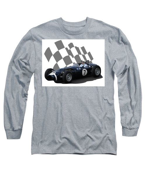 Vintage Racing Car And Flag 8 Long Sleeve T-Shirt by John Colley