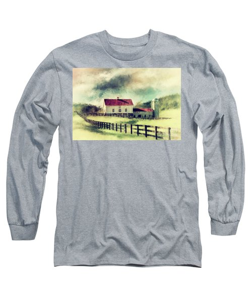 Long Sleeve T-Shirt featuring the digital art Vintage Red Roof Barn by Lois Bryan