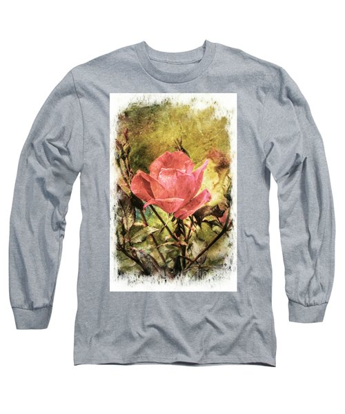 Vintage Rose Long Sleeve T-Shirt by Tina  LeCour