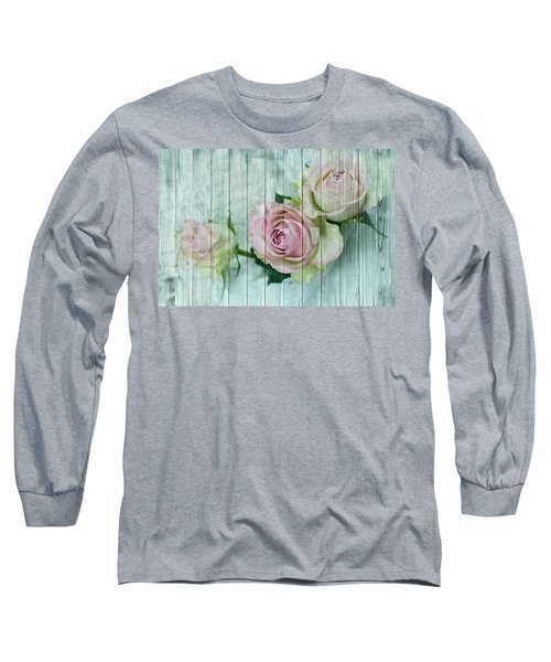 Vintage Shabby Chic Pink Roses On Wood Long Sleeve T-Shirt