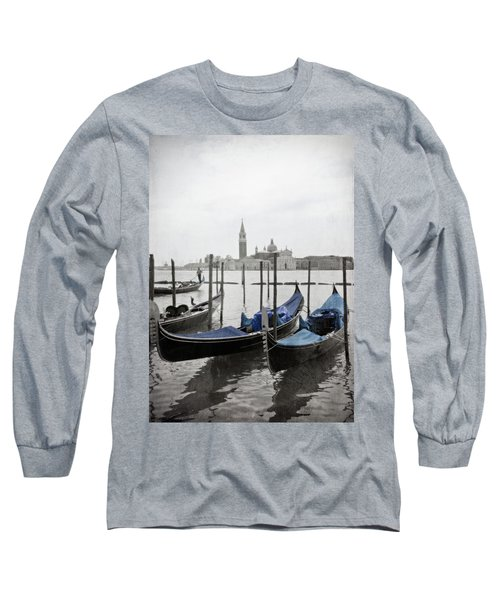 Vintage Venice In Black, White, And Blue Long Sleeve T-Shirt