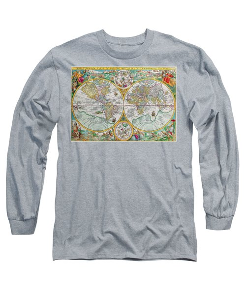Long Sleeve T-Shirt featuring the photograph Vintage World Map by Peggy Collins