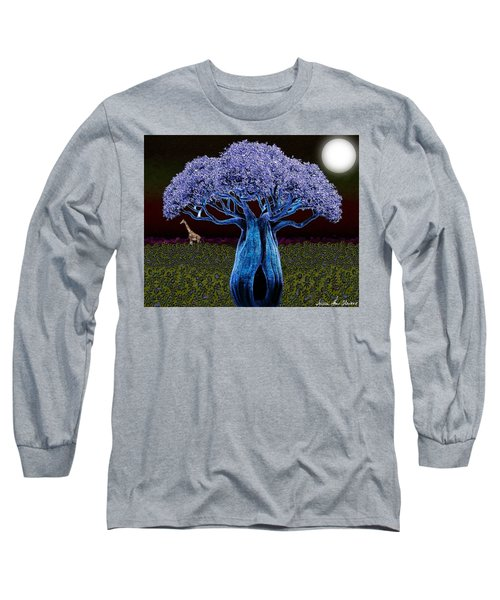Violet Blue Baobab Long Sleeve T-Shirt by Iowan Stone-Flowers
